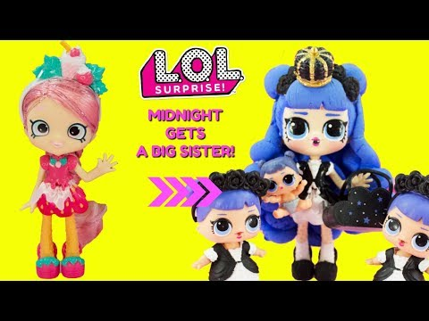 LOL SURPRISE Midnight Gets A Big Sister DIY Shopkins Shoppie Doll Lucy Smoothie Makeover