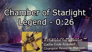 Chamber of Starlight Legend - 0:26 Warlock Platinum Speedrun - Season of the Lost