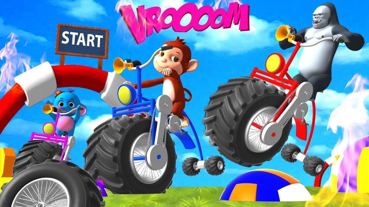 Gorilla and Monkey Wins Giant Bike Race | Monster Tricycle Game 3D Funny Animals Comedy Videos