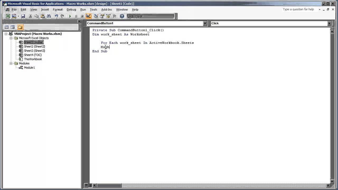 Vb Excel Cre Te Loop Loop Through Ll W Ksheets