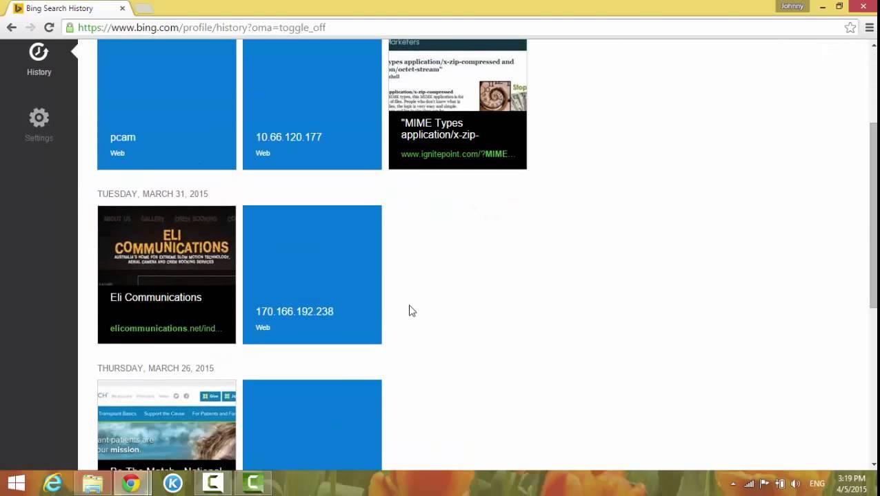 Clear Website History On Bing