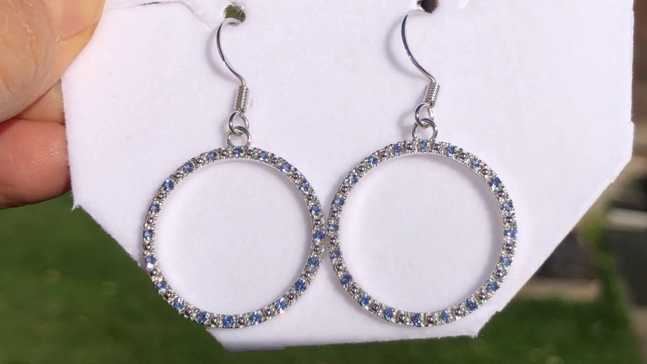 Montana Yogo Sapphire Hoop Earrings Sterling Silver