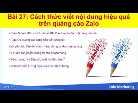 Bài 27 Cách thức viết nội dung hiệu quả trên quảng cáo Zalo