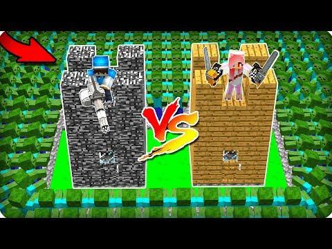 💣Замок ДЕВУШКИ и ПРО против 1000 зомби в Майнкрафт! НУБ и ПРО выживают зомби апокалипсис Minecraft