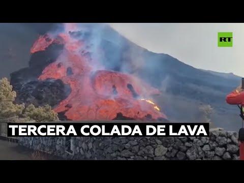 Se derrama una tercera colada de lava tras el derrumbe del flanco norte del volcán Cumbre Vieja