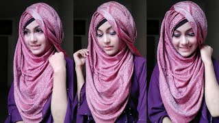One side swept hijab tutorial with full coverage || Noshin Nower ❤