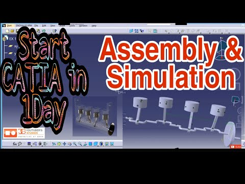 CATIA SIMULATION,  ASSEMBLY, MULTI CYLINDER ENGINE, Autocad, CATIA, 3D, 2D, DRAWING, AUTOMATION, DES