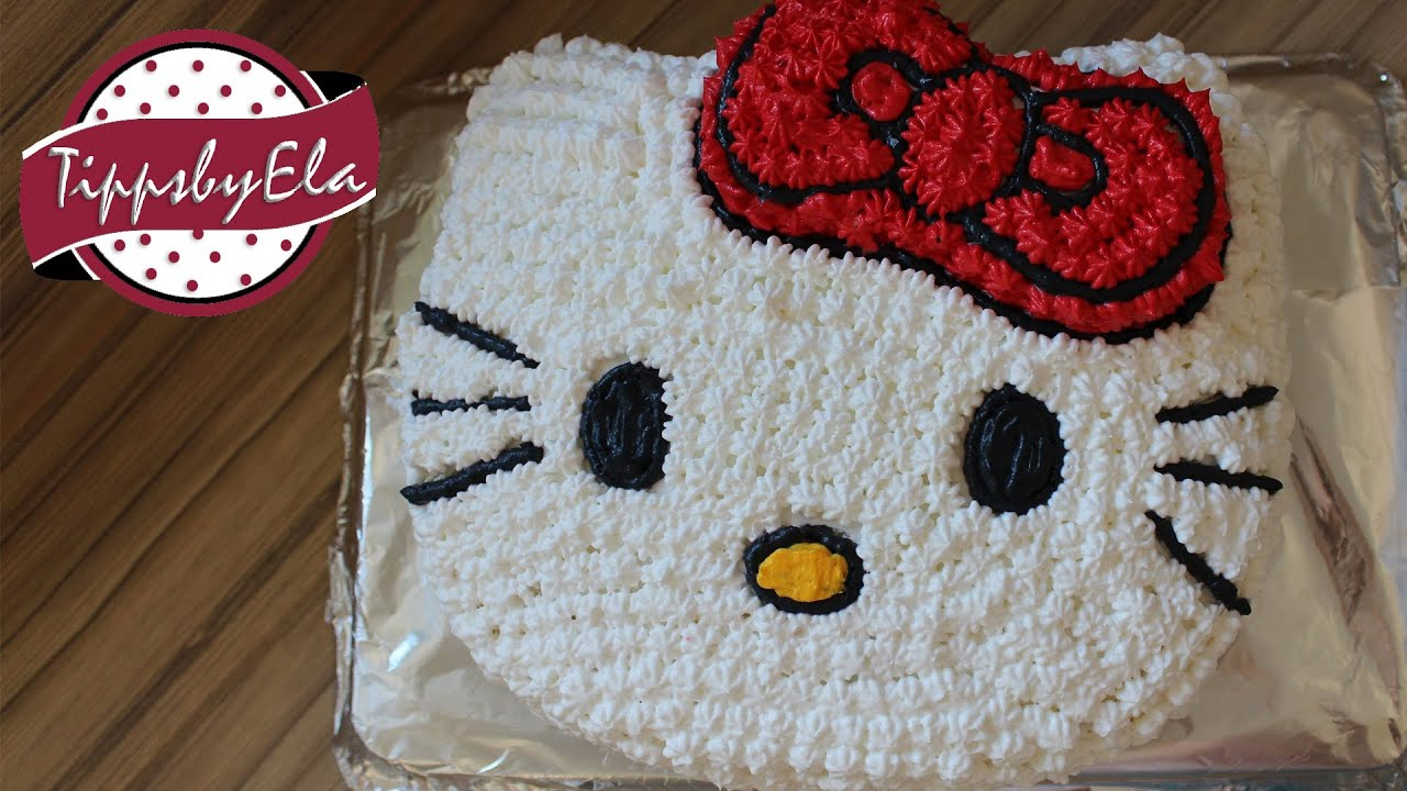 How To Make A Hello Kitty Cake With Icing Decoration Cream Youtube