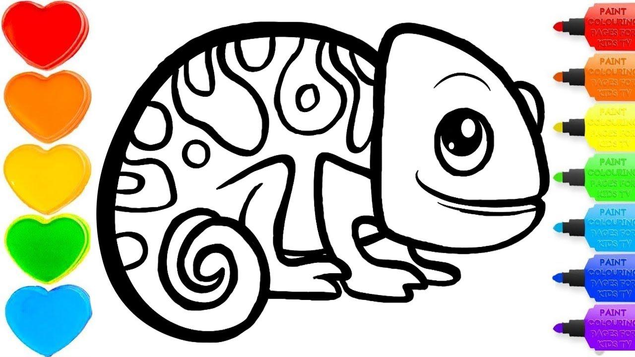 chameleon glitter drawing & coloring -  #colorsforchildren & #coloring& #kidscartoon