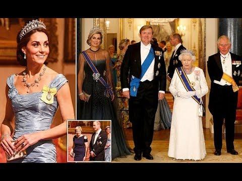 Kate Middleton state dinner at Buckingham Palace - Kate wearing a Princess Diana's tiara