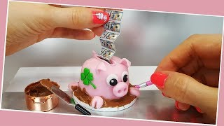 REAL but mini money - PIGGY bank surprise cake/chocolate cake/How to make a cake