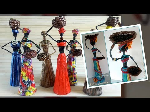 DIY doll from newspaper.Amazing beautiful african doll. Craft from waste materials