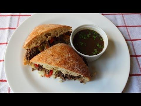 """Chicago Italian Beef Sandwich """"Stew Meat Edition"""" - Stewed Italian Beef Sandwich"""