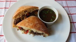 "Chicago Italian Beef Sandwich ""stew Meat Edition"" - Stewed Italian Beef Sandwich"