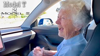 Driving my 92 year old Grandma in a Tesla Model 3