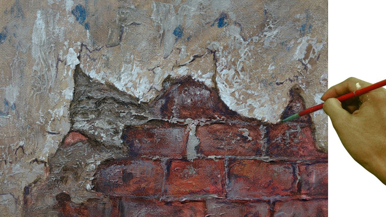 Painting Tutorial On How To Paint Realistic Textures On Old Broken Cemented Wall Using Palette Knife