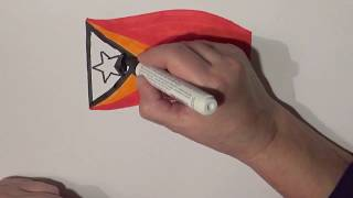 Learn geography for kids How to draw a flag East Timor