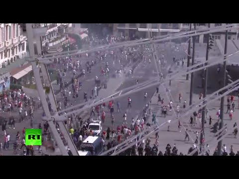 Football fans clash in Marseilles ahead of England-Russia game - recorded live