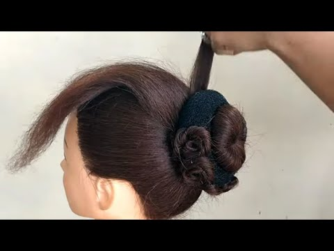 Beautiful Bun For Medium Hair || Simple Festival Hairstyles || Easy Function Hairstyle thumbnail