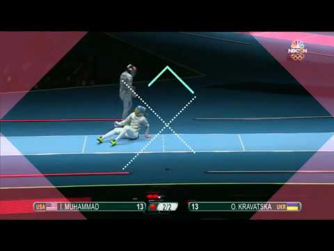 Muhammad of the U S  makes history in opening fencing bout