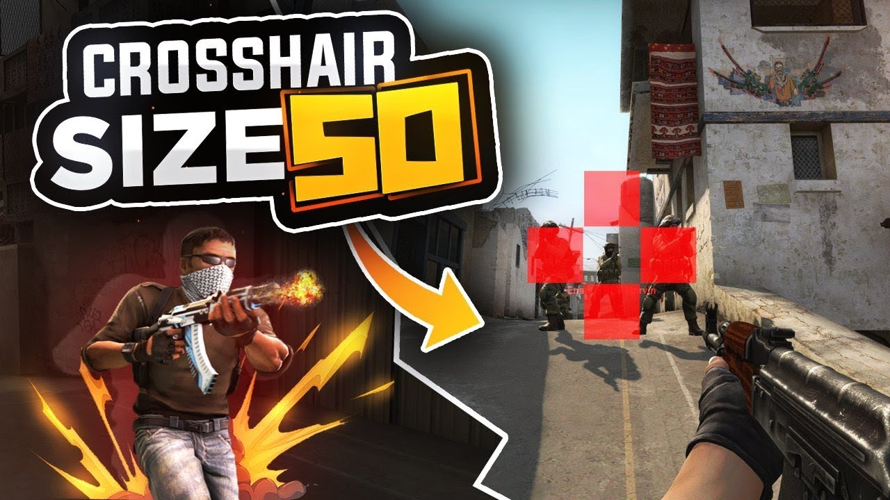 PLAYING WITH CROSSHAIR SIZE 50 (CS:GO) - YouTube