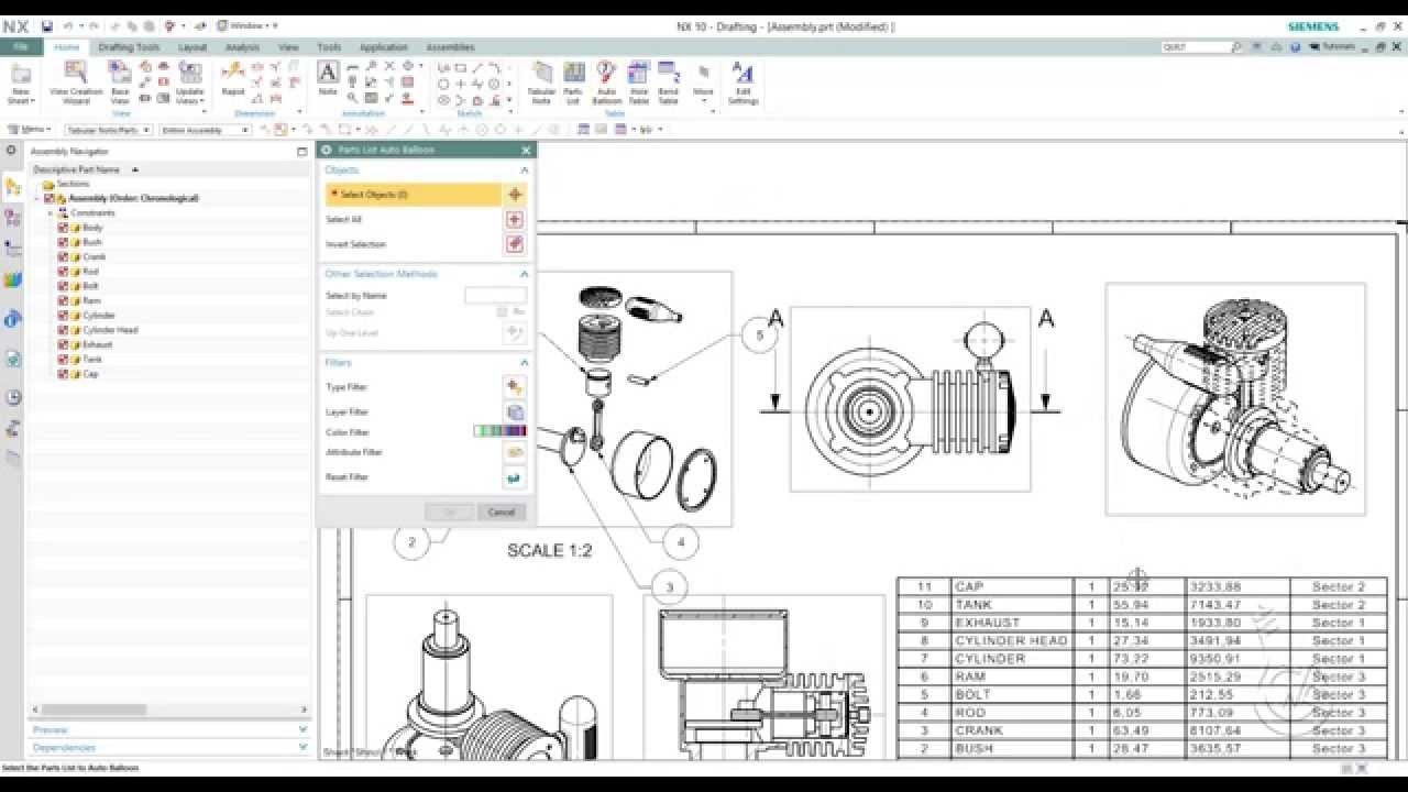 Siemens Nx 10 0 - Parts List And Auto Balloon Exercise