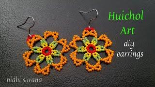 ⚜️ Huichol Art, Seed Bead Earrings || Aretes Tutorial DIY (0331)