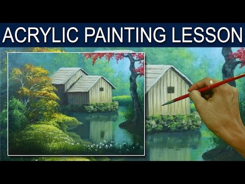Acrylic Painting Lesson | The Barn in the River by JM Lisondra