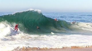 First swell at the WEDGE 2019 - Jamie O'Brien & Blair Conklin