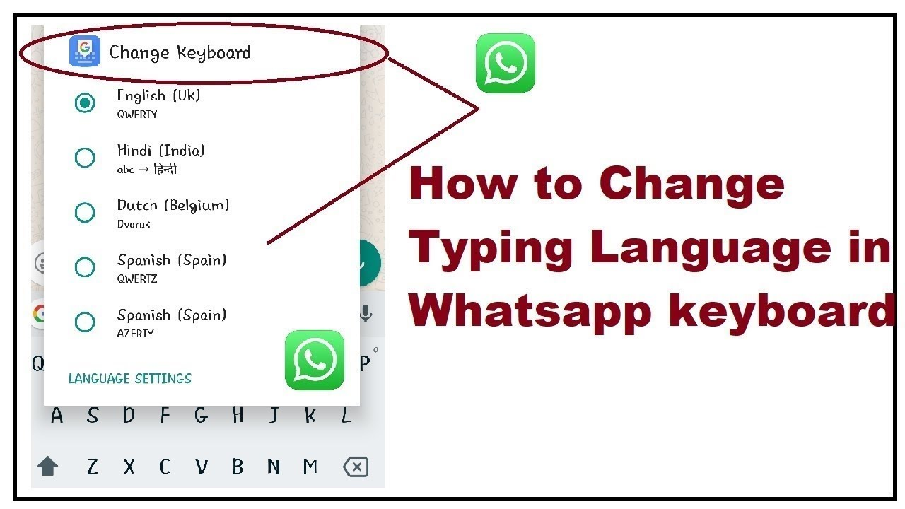 How to change Typing Language in whatsapp