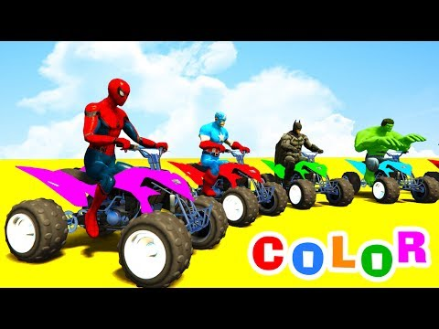 Thumbnail: Learn Color ATV and SUV with Spiderman Cars Cartoon for Babies & Bus Superheroes for Kids