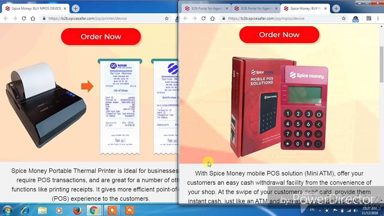 mpos machine /micro Atm:::spice money portal