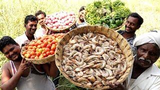 PRAWNS GRAVY Recipe | Villagers cooking Prawns Masala | Shrimp Curry | Healthy Food