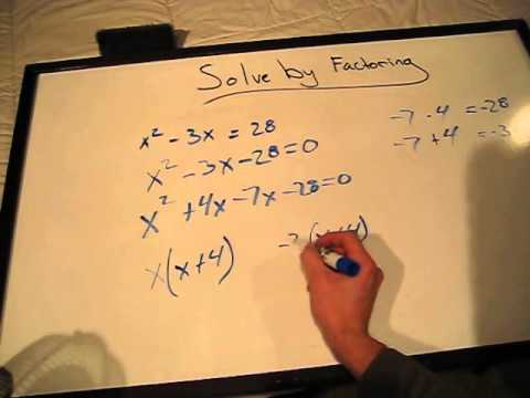 How to solve x^2-3x=28 by factoring - YouTube