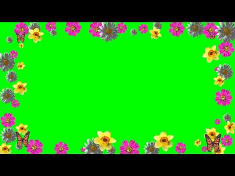 Floral Frame Green Screen.