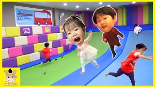 Indoor Playground Fun for kids toys how to play Finger Family Song Slide Jump | MariAndKids Toys