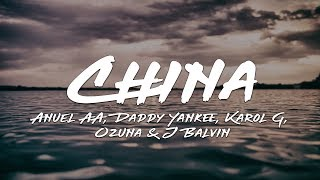 Anuel AA - China (Letra / Lyrics) Daddy Yankee, Karol G, Ozuna & J Balvin