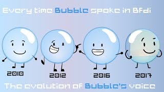 Every time that bubble spoke in BFDI [Evolution of Bubble's voice]