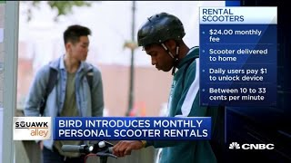 Scooter company Bird introduces monthly rentals