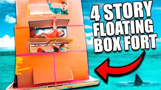 24 Hour 4 Story Tall Floating Box Fort Challenge! This Is INSANE!