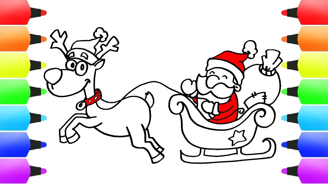 Santas Sleigh Reindeer Fun Christmas Drawings Coloring Book For Children
