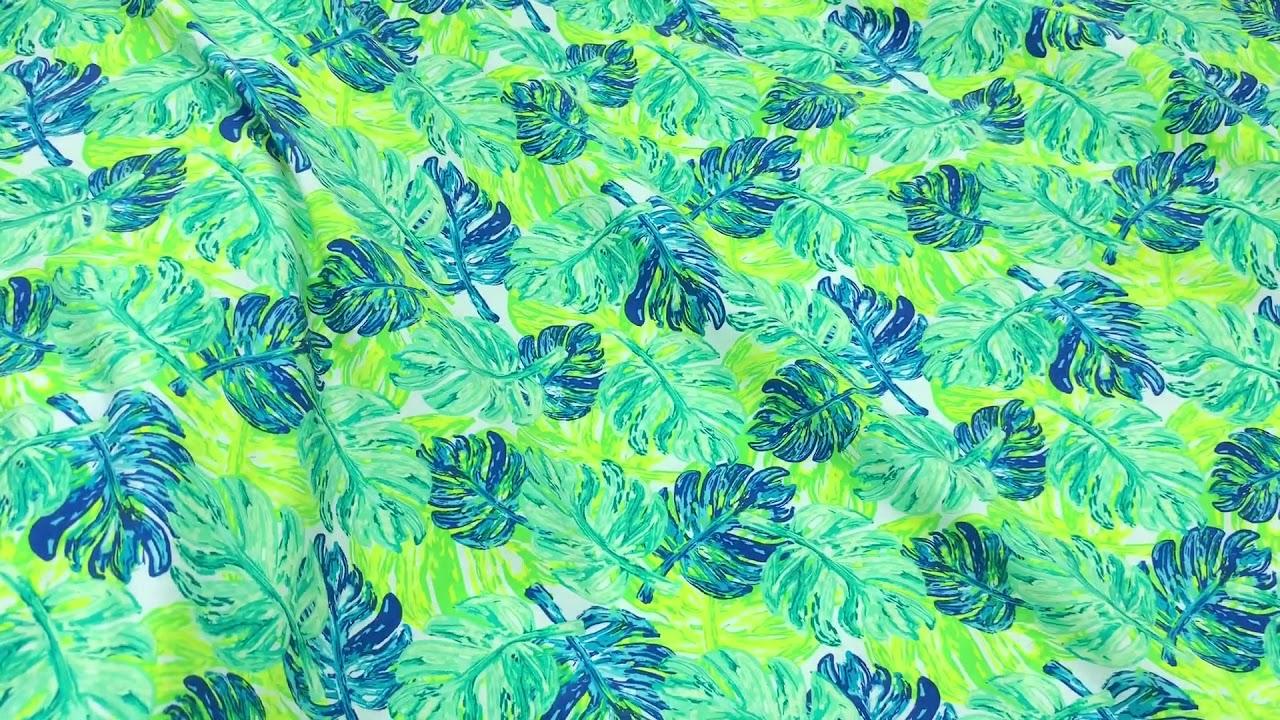 Art Gallery Fabrics tropical knit leaf pattern - YouTube
