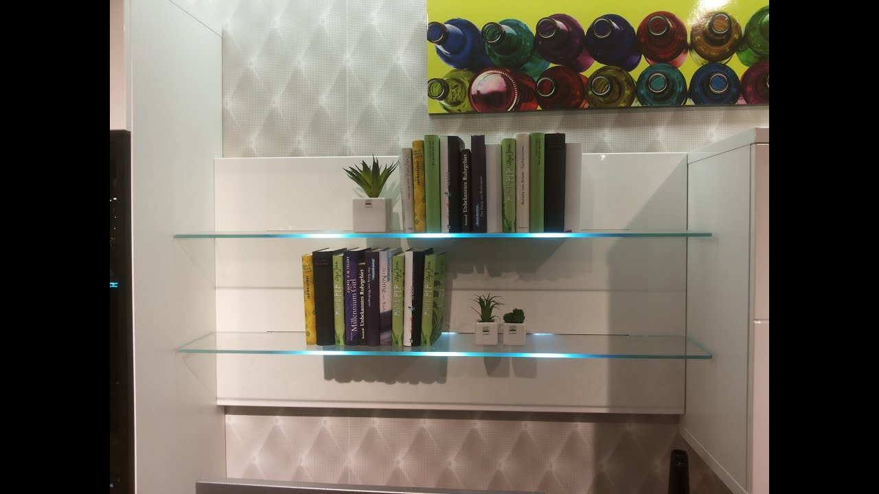 Bookcase With LED Glass Shelf Lights / LED Wall Mounted Bar Shelf   Bar  Display   YouTube