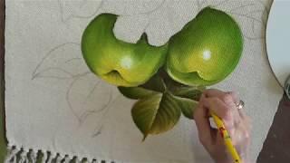 Como Pintar Maçãs Verdes e Rosas Cor de Rosas