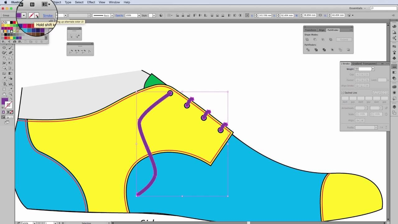 How To Draw Shoelaces & Eyelets On A Shoe In Adobe Illustrator  3
