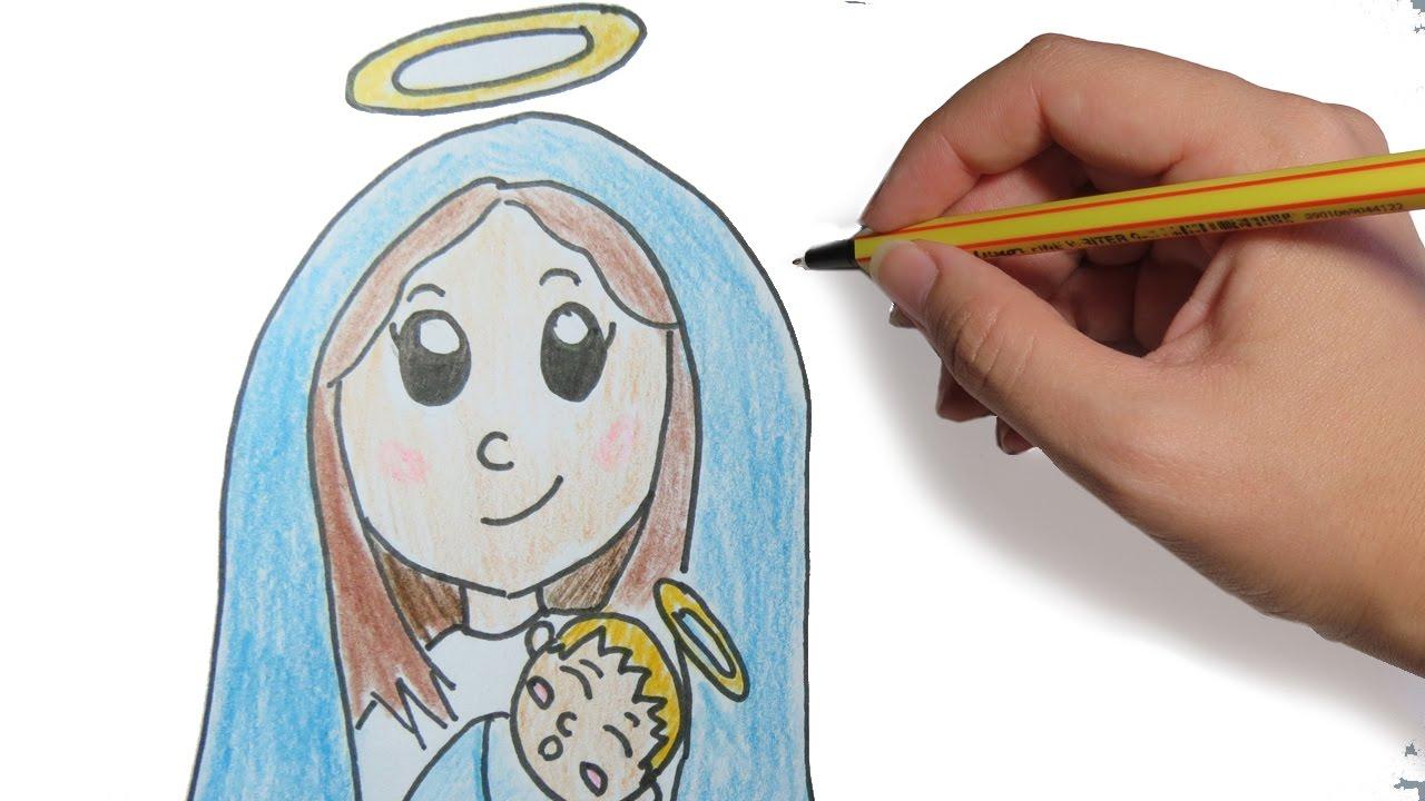 Como Dibujar A La Virgen Para Navidad Paso A Paso Facil Dibujos De Navidad A Color Para Niños