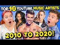 Generations React To Top 10 YouTube Artists of The Decade Vevo
