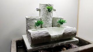 Awesome Make a Beautiful Table Top Water Fountain Using White Cement