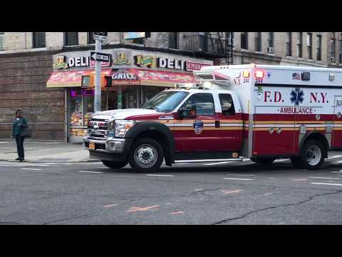 BRAND NEW FDNY ECO FRIENDLY EMS AMBULANCE RESPONDING ON ST. JOHNS PLACE IN CROWN HEIGHTS, BROOKLYN.