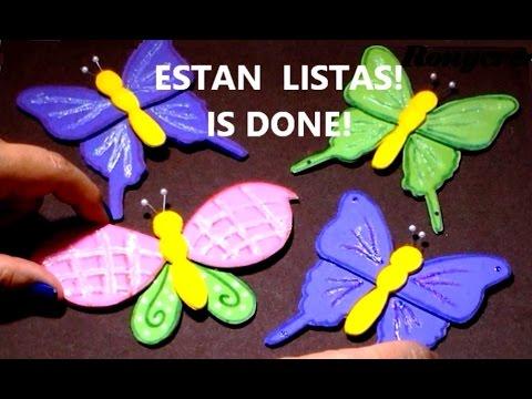 Cmo hacer mariposas de goma eva  fomi  foami  DIY